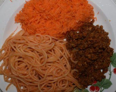 Spagetti med soyafärs.